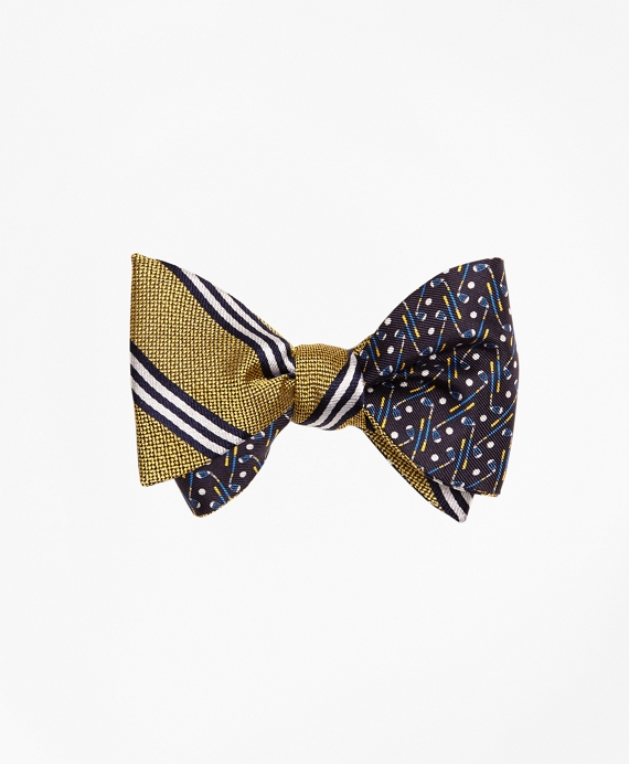 BB#1 Rep Stripe with Golf Motif Reversible Bow Tie Yellow-Navy