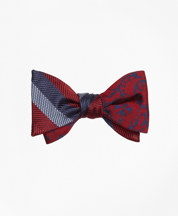 Dotted Herringbone Stripe with Vines Reversible Bow Tie Red