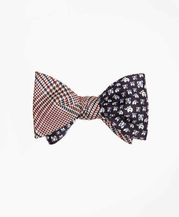 Plaid with Elephant Motif Reversible Bow Tie Red-Navy
