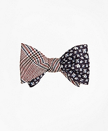 Plaid with Elephant Motif Reversible Bow Tie