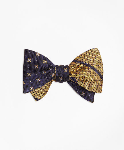 X and Dot with Textured BB#3 Stripe Reversible Bow Tie