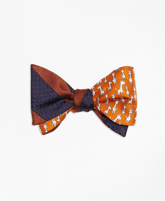 Framed Textured Stripe with Giraffe Print Reversible Bow Tie Orange