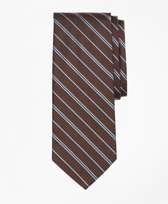 Alternating Rep Stripe Tie Brown