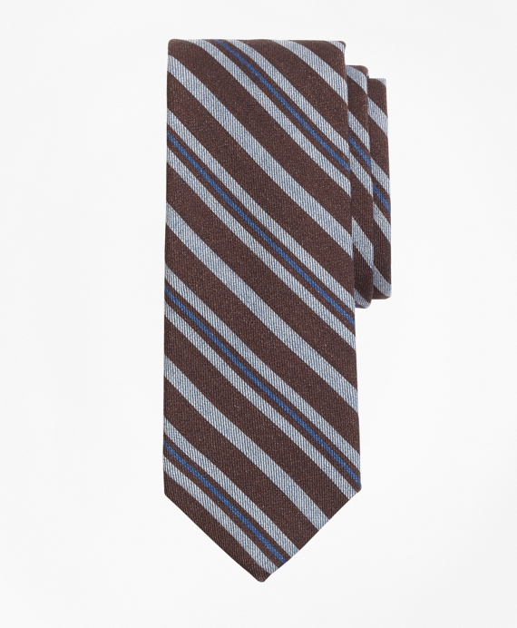 Alternating Stripe Print Tie Brown