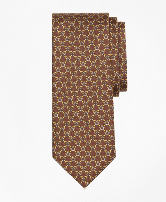 Chain Link Print Tie Brown