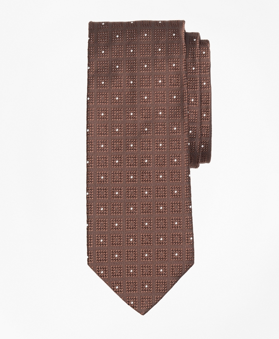 Square with Dot Tie Brown