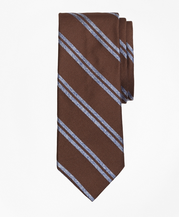 Textured Heathered Double Stripe Tie Brown