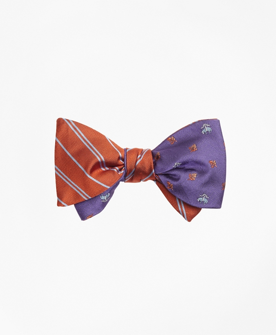 Alternating Stripe with Golden Fleece® Leaf Reversible Bow Tie