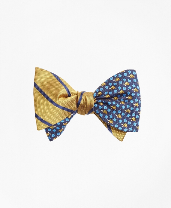Twill Stripe with Turtle and Leaf Print Reversible Bow Tie