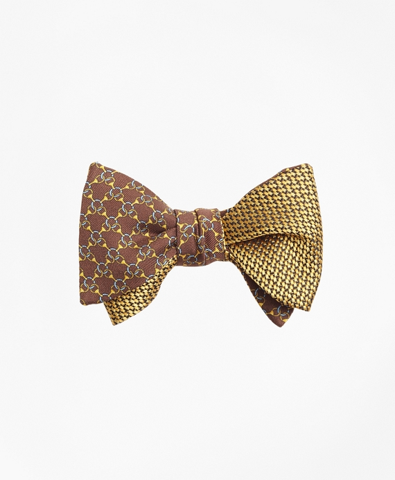Chain Link Print with Tonal Solid Reversible Bow Tie Brown-Gold