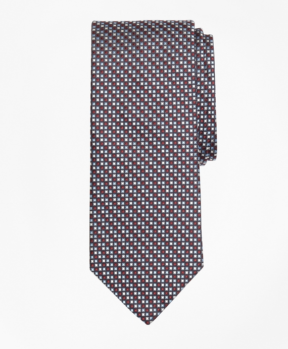Three-Color Diamond Tie Burgundy