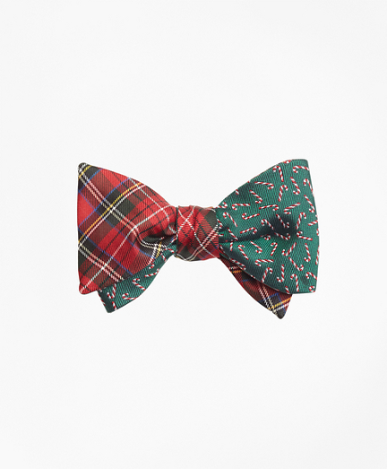 Royal Stewart Tartan with Candy Canes  Reversible Bow Tie