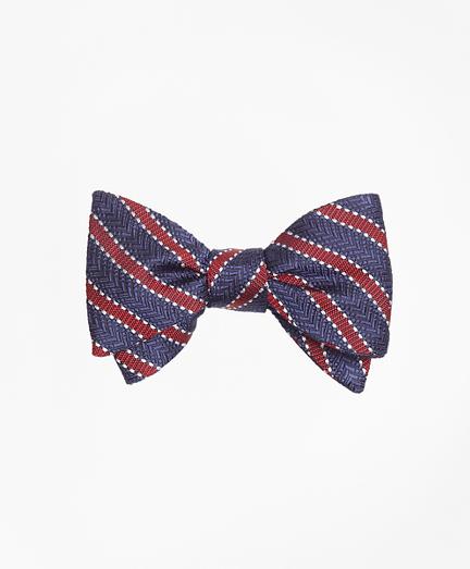 Dot Framed Stripe Bow Tie