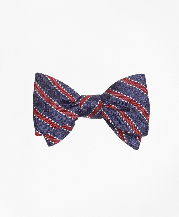 Dot Framed Stripe Bow Tie Navy