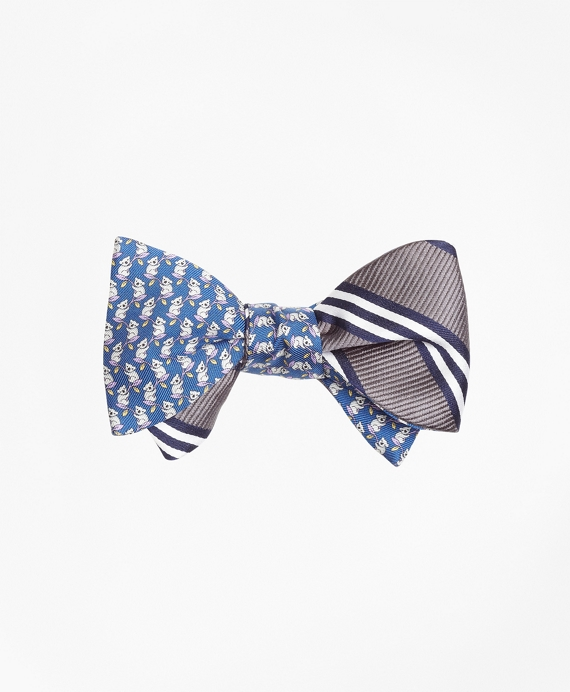 Koala Print with BB#1 Stripe Reversible Bow Tie Blue-Grey