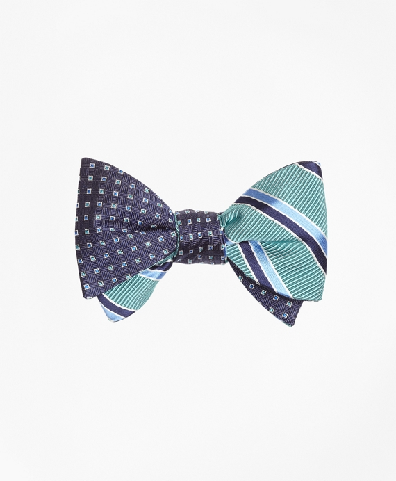 Alternating Square with Mogador Double Stripe Reversible Bow Tie Navy-Aqua