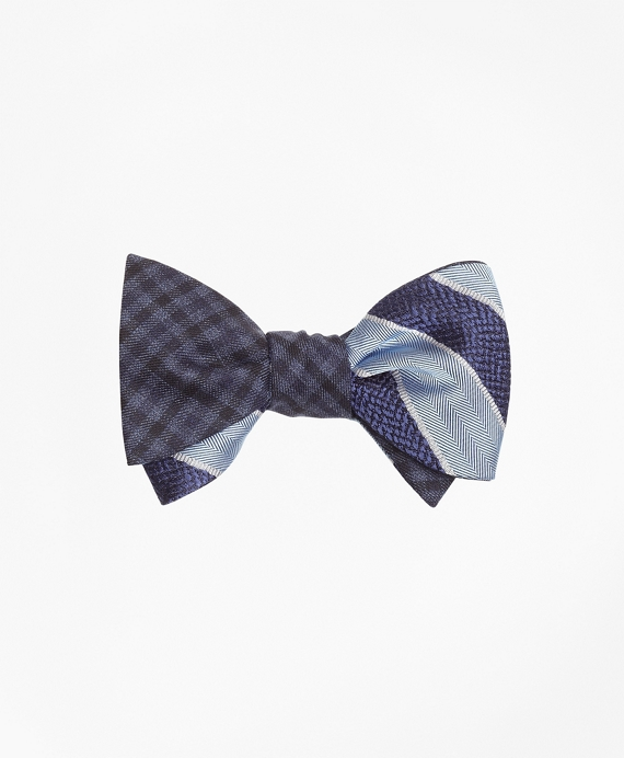 Herringbone Texture Framed Stripe with Multi-Check Reversible Bow Tie