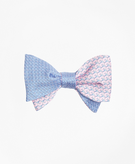 Micro-Dot with Airplane Motif Reversible Bow Tie Light Blue-Pink