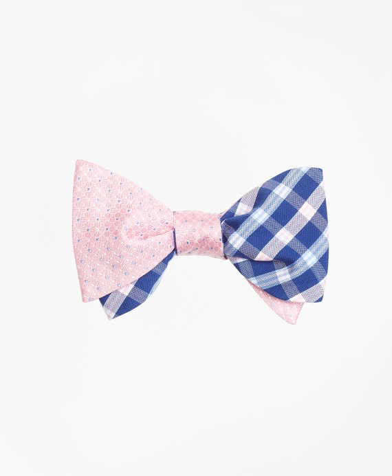 Square Flower with BB#1 Check Reversible Bow Tie Pink-Blue