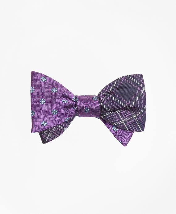 Parquet Flower with Plaid Reversible Bow Tie Purple