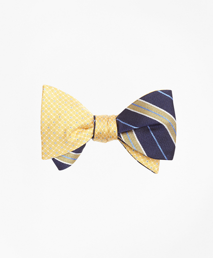 Square Flower with Herringbone Split Stripe Reversible Bow Tie