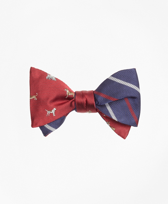 Dog Motif Print with Textured Alternating Stripe Reversible Bow Tie Red-Navy