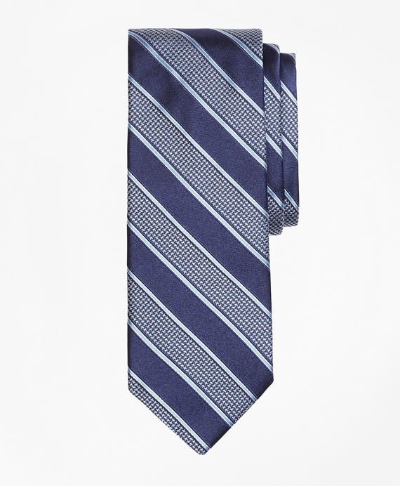 Houndstooth Stripe Tie Light Blue