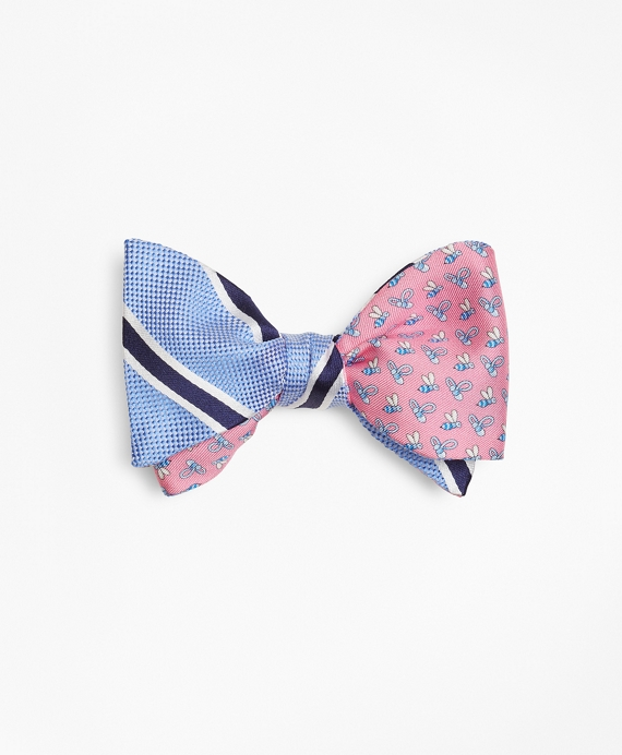 BB#2 Stripe with Bee Motif Print Reversible Bow Tie