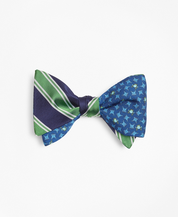 Double Framed Stripe with Frog Motif Print Reversible Bow Tie