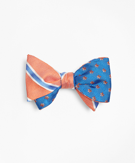 BB#2 Stripe with Textured Stripe Flower Reversible Bow Tie