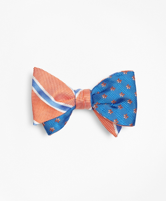 BB#2 Stripe with Textured Stripe Flower Reversible Bow Tie Orange-Blue
