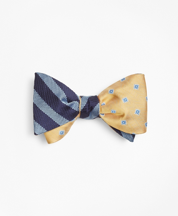 Ground Stripe with Herringbone Tossed Squares Reversible Bow Tie