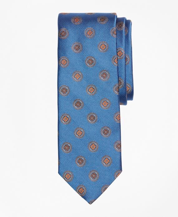 Textured Medallion Tie Blue