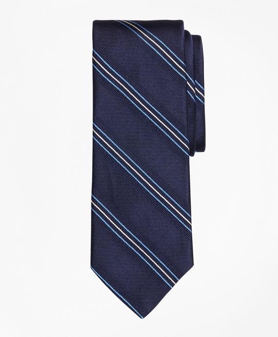 Alternating Stripe Tie Blue