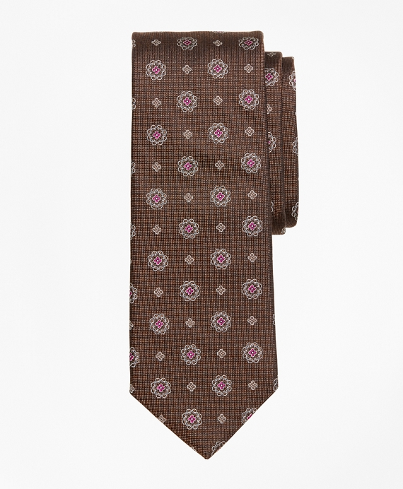 Flower Medallion Tie Brown