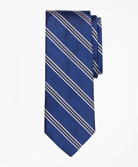 Framed Split Stripe Tie Blue