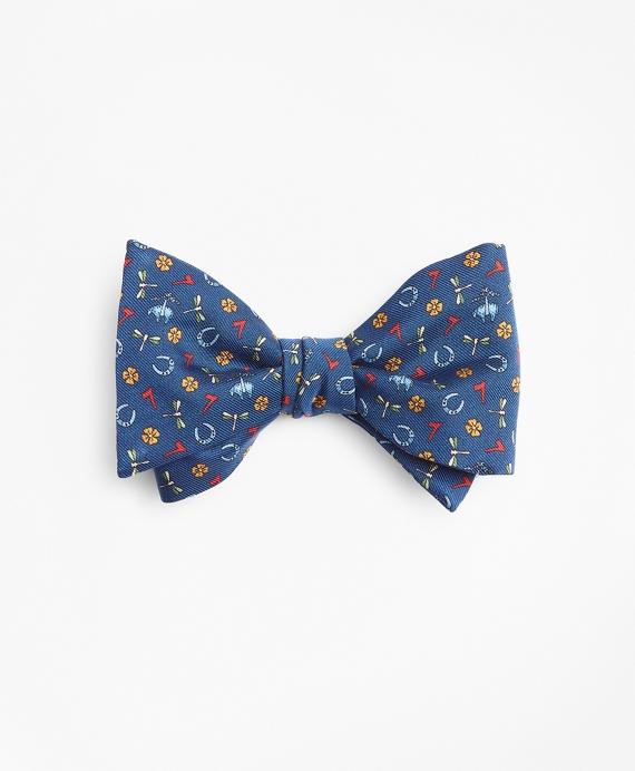 Lucky Motif Print Bow Tie Navy