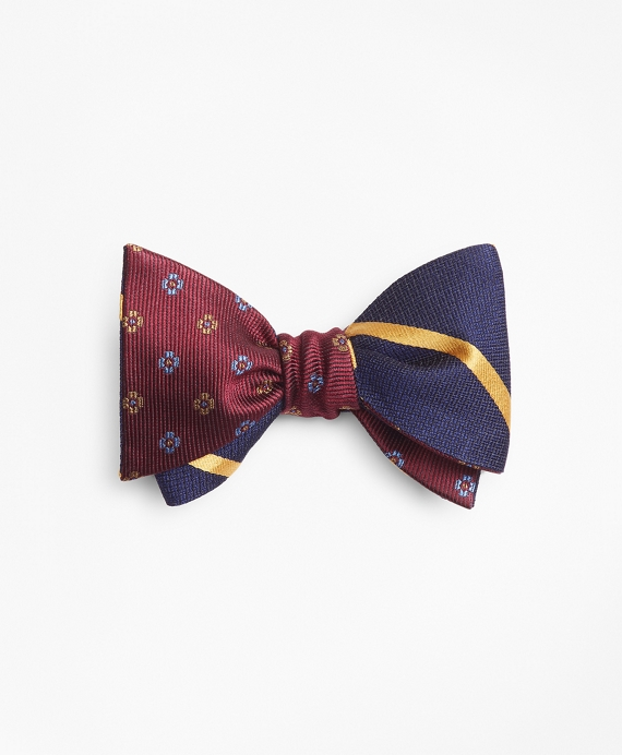 Textured Bar Stripe with Two-Tone Flower Reversible Bow Tie Yellow-Burgundy
