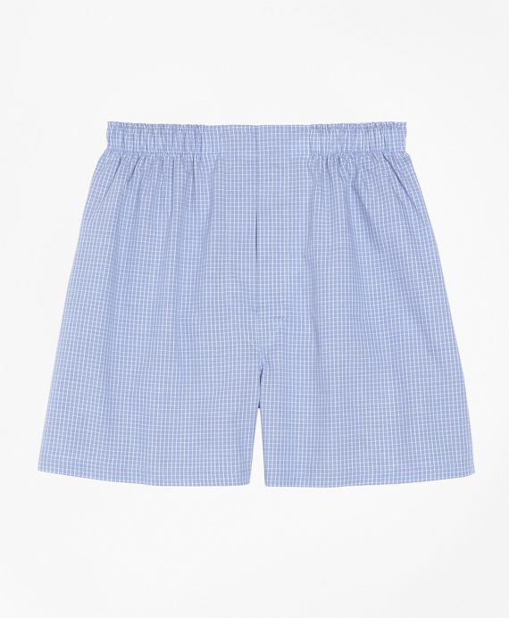 Traditional Fit Mini Check Boxers Blue