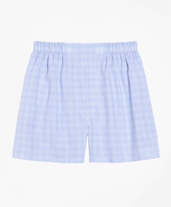 Traditional Fit Glen Plaid Boxers Blue