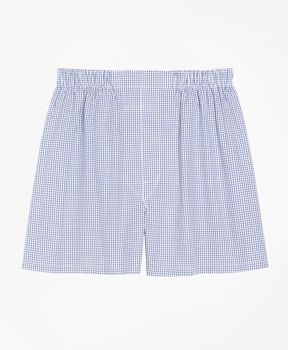 Traditional Fit Small Check Boxers Navy
