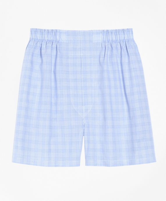 Slim Fit Glen Plaid Boxers Blue