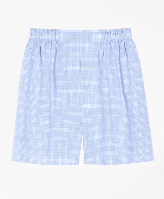 Slim Fit Glen Plaid Boxers Blue