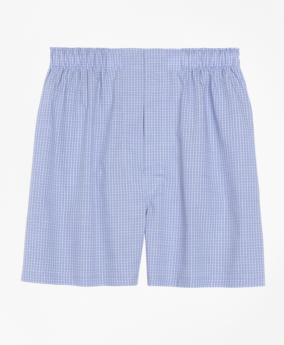 Slim Fit Mini Check Boxers Blue