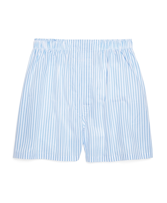 Traditional Fit Bar Stripe Boxers Light Blue-White