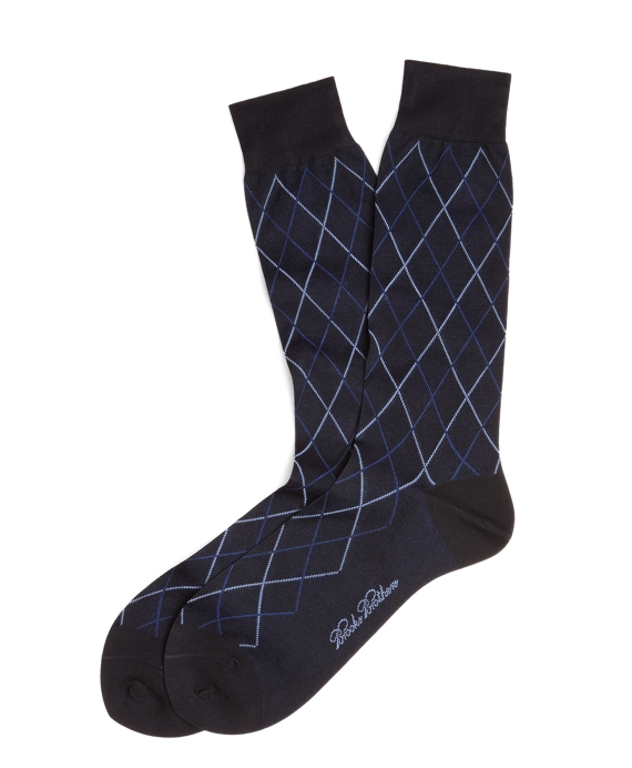 Raker Pattern Crew Socks Navy