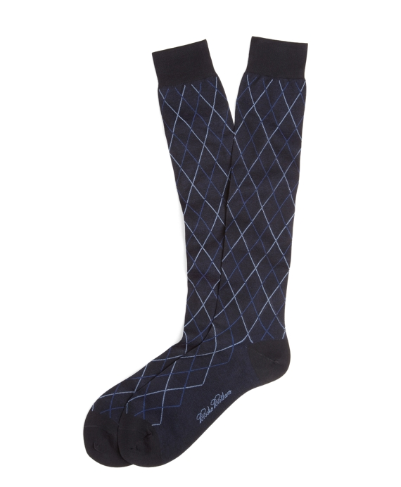 Raker Pattern Over-the-Calf Socks Navy