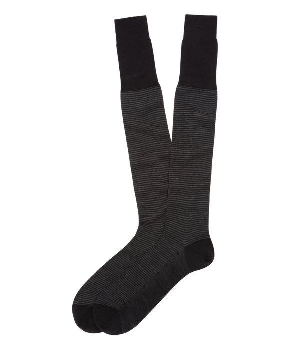 Rib Stripe Over-the-Calf Socks Black