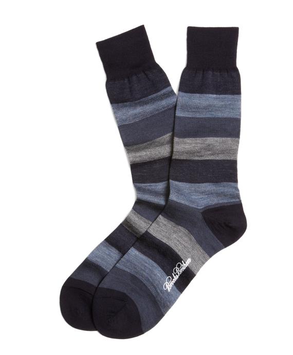 Chunky Stripe Crew Socks Blue