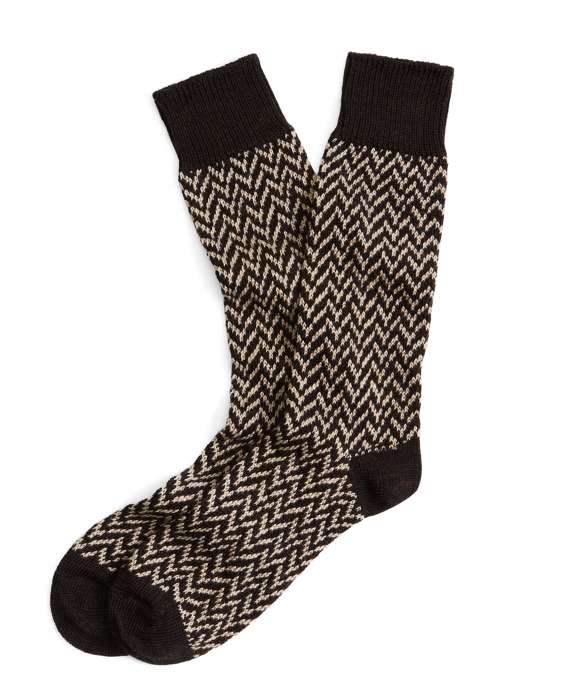 Large Herringbone Crew Socks Brown